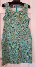 Jones New York Signature Women's Shift Dress Size 10 Blue/Green/Yellow Paisley