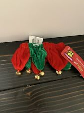 Christmas Dog Collar Neck Scrunchie Red & Green W Jingle Bells
