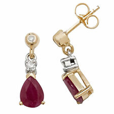 Drop/Dangle Ruby Yellow Gold Fine Earrings