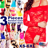 3 Lace Lingerie Sleepwear Bodycon Bodysuit Rompers Jumpsuit Playsuit Plus Size