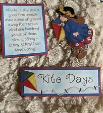 Handmade Paper Piecing Premade Kite days. Little girl. Spring Summer Scrapbook