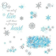 Disney FROZEN SONG QUOTE: LET IT GO wall stickers 26 glitter decals snowflakes
