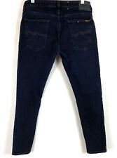 Nudie Mens Skinny Lin Jeans Stretch Washed Black size 36 Hemmed