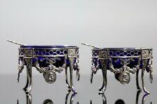 More details for fantastic pair antique victorian  solid sterling silver salt cellars 1846 ac2