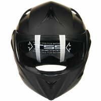 Matte BLK Full Open Face Modular Flip Up Dual Visor Motorcycle Street Helmet