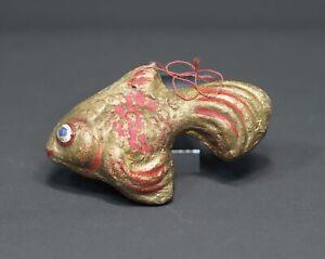 Antique 1900 German Papiermache Hand Painted Christmas Ornament Gold Koi Fish