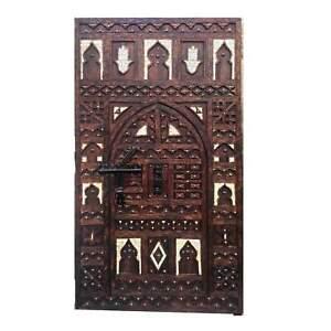 Incredible Hand Carved Moroccan Wood Front Double Door - Inlaid, Hamsa, Cedar