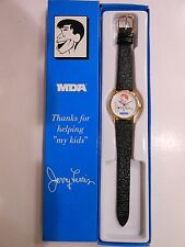 Jerry Lewis MDA Signature Watch Gold Tone 30mm White Dial Black Band BRAND NEW