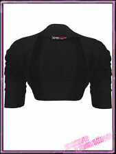 Ladies Plus Size Ruched Bolero Cotton Shrug Womens Cardigan UK 16 - 26 Black 5054358217509 24/26