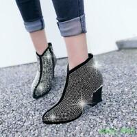 2019 Womens Ankle Boots Mid Block Heel Rhinestone Round Toe Side Zip Party Shoes