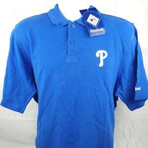 NWT Reebok MLB Philadelphia Phillies Mens Polo Shirt Blue Large Baseball Cotton