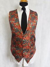 Z1115 MENS FREDERICK THEAK RED GREY PAISLEY BROCADE PATTERN WAISTCOAT M 40""