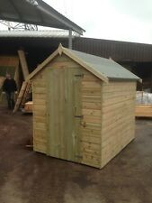 7x5 Garden Shed Pressure Treated Wooden Hut Timber Outdoor Store Bikes Tools