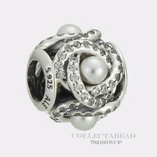 Authentic Pandora Sterling Silver Luminous Love Knot Pearl CZ Bead 792105WCP