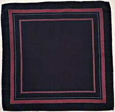 "VINTAGE AUTHENTIC GEOMETRIC BLUE RED SILK 13"" SQUARE POCKET SMALL SCARF"