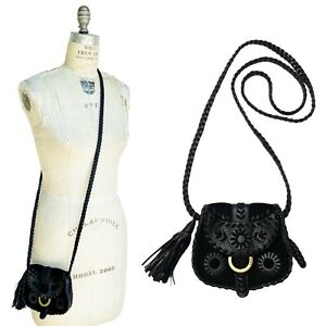 Isabella Fiore Black Suede Leather Whipstitched Flap Mini Crossbody Purse Bag