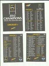 2012 NRL SELECT CHAMPIONS CHECKLIST SET 4 CARDS FREE POST