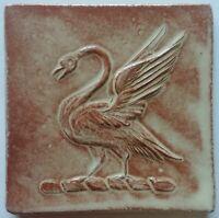 Swan tile handmade, low relief, swan crest by Helen Baron