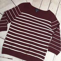 Lands End Women's Sweater Pima Cotton V-neck Burgundy Stripe Medium Petite 10-12
