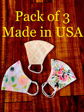 ( Pack of 3 ) Face mask with Filter pocket. Reusable. Washable. Made in USA