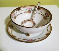 MORIMURA NORITAKE Nippon Condiment Bowl w/ Plate, Gilded, Beaded, Roses