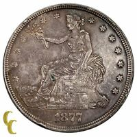 1877 Silver US Trade Dollar $1 (Extra Fine, XF Condition)