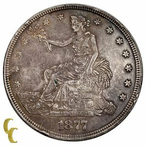 1877 Silver US Trade Dollar (Extra Fine, XF Condition)