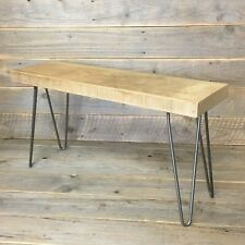 Bench Solid Wood Oak Rustic Industrial Country Steel Hairpin Legs