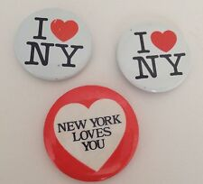 """I Love NY Pins Lot of 3 New York Loves You 1 1/2"""" Pinback Buttons"""