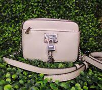Dkny Women Elissa Pebble Leather Mini Crossbody Bag Fog Silver