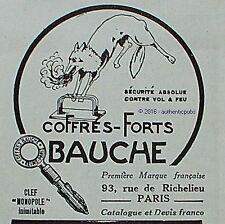 PUBLICITE BAUCHE COFFRES FORTS CLEF MONOPOLE RENARD DE 1926 FRENCH AD PUB RARE