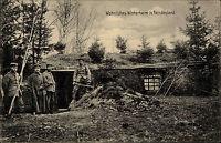 """Feldpostkarte Militär Militaria 1. WK 1915 """"Wohnliches Winterheim in Feindesland"""
