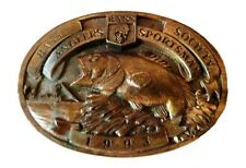 BASS Anglers Sportsman Society Fishing Boat Brass Belt Buckle 1993 USA Vintage