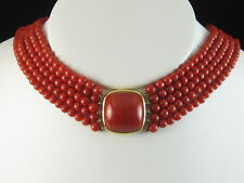 18K Coral Necklace Tiffany & Co Natural Red Choker Yellow Gold Vintage Estate