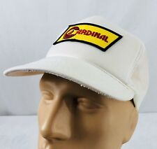 Vtg Cardinal Hat Snapback Trucker Cap White Mesh Patch