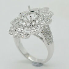7x9mm Oval Cut Solid 18kt White Gold Natural Diamond Semi Mount Engagement Ring