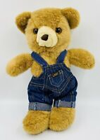 "Lee Jeans 14"" Teddy Bear Plush Stuffed Animal Denim Bib Overalls"