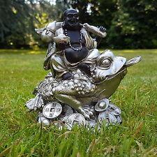 Happy Buddha Dekofigur Feng Shui Statue Budda on Frog Buddhismus Joga Glück