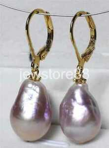 AAA 11-14mm South Sea Baroque Pearl Earrings 14K GOLD