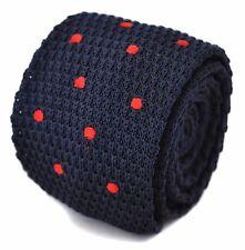 tricoté mince marine bleu et rouge pois cravate pour hommes par Frederick Thomas