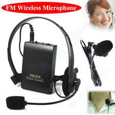 Portable Wireless Lapel Clip Microphone Headset FM Transmitter Receiver Lavalier