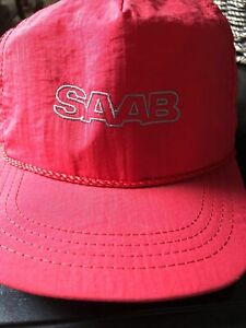 Vintage SAAB Red Nylon Baseball Hat Leather Strap Made In USA