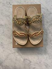 Christian Louboutin Normandie Flat Rope Gold Leather Spike Slip Slide Sandal 39