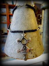 Vintage Tuareg Silver/brass Cross Black Beads Necklace