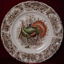"JOHNSON BROTHERS china WILD TURKEYS BROWN Dinner Plate - 10-3/4"""