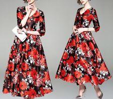 Vestito Donna Abito Lungo Stampa Floreale Rosso e Nero Woman Maxi Dress 110359 P