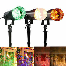 Waterproof Led Projector Light Flame Lightings Holiday Rotating Spotlight Light