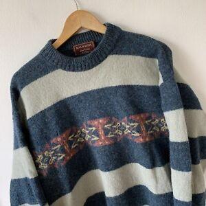 Vintage Malagrida Men's Jumper Sweater Size XL Blue Knit Winter Retro *damaged