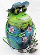 Abfalleimer Frosch mit Hut Blau Treteimer Mülleimer aus Metall 45 cm Eimer