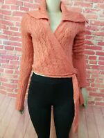 Free People Wrap Knit Coral Wool blend Women's Cropped Sweater Size Medium #C
